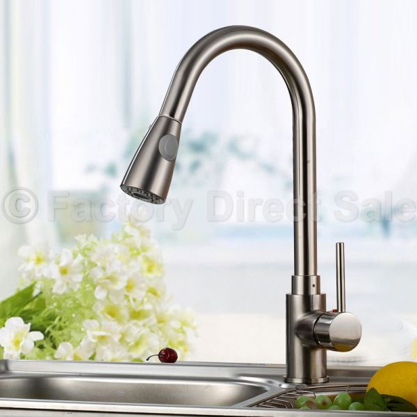 """brushed nickel kitchen sink 16"""" Pull-Out Brushed Nickel Kitchen Sink Faucet Spray"""