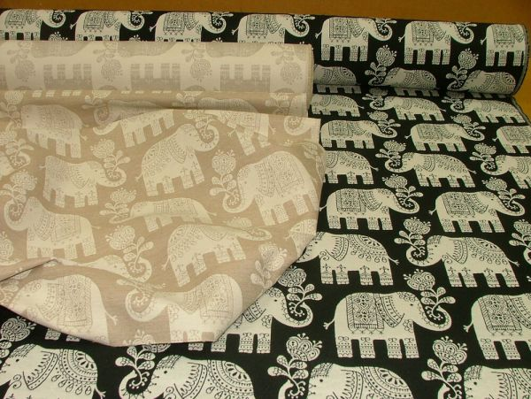 Elephant Natural Linen Or Black Cotton Jacquard Curtain