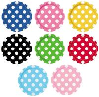 "Polka Dot 8 Round Paper PLATES {7""/18cm} (Decoration"