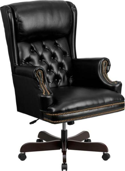 traditional leather office chair LOT OF 10 HIGH BACK TRADITIONAL TUFTED BLACK LEATHER