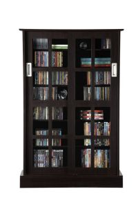 Media Storage Cabinet Rack Shelf Glass Door Windowpane DVD