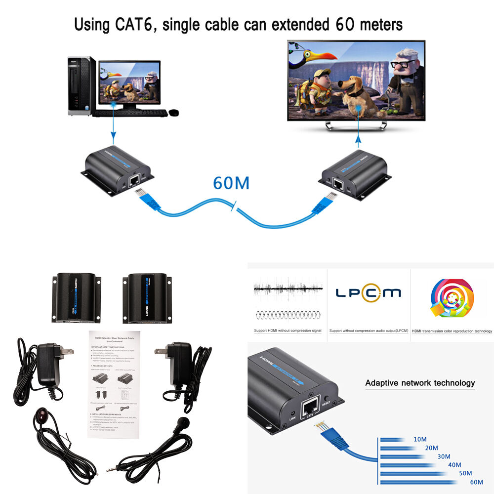 Cat6 Wiring Diagram For Cctv 196ft Lkv372a Hdmi Network Extender Over Single Cable With