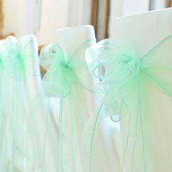 Where To Buy Chair Sashes Hickory Banquette New 50pcs Mint Green Organza Bow Wedding Decoration Party Favors | Ebay