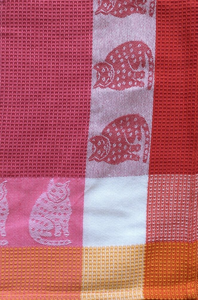 Cat Kitchen Towel  Cotton Waffle Weave  Raspberry Pink