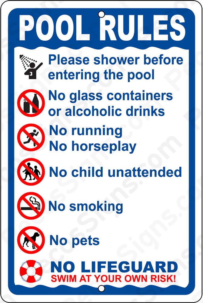 Pool Rules On A 8 Quot Wide X12 Quot High Aluminum Sign Made In