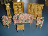 7 Pc. Living Room Set Wood Doll House Furniture