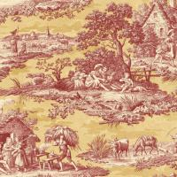 Wallpaper Designer French Country Life Toile Rust Red ...