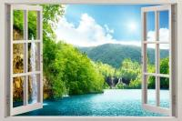 Forest Lake Scene 3D Window View Decal WALL STICKER Decor ...