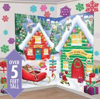 SANTA'S WORKSHOP Scene Setter Christmas party wall decor
