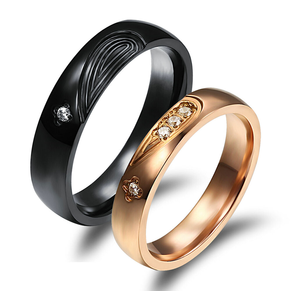 His and Her Promise Rings Crystal Black Gold Couple Rings