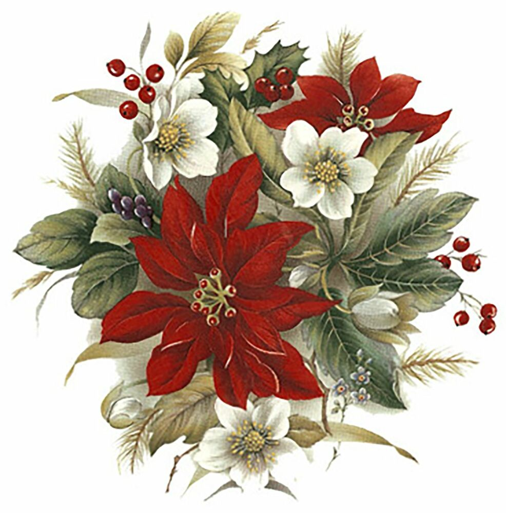 Christmas Poinsettia Select A Size Ceramic Waterslide