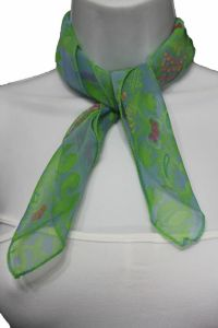 Women Small Neck Scarf Fabric Square Print Pocket Green