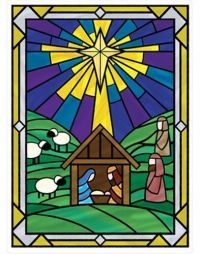 NATIVITY STAINED GLASS cling MURAL 1 big Christmas window