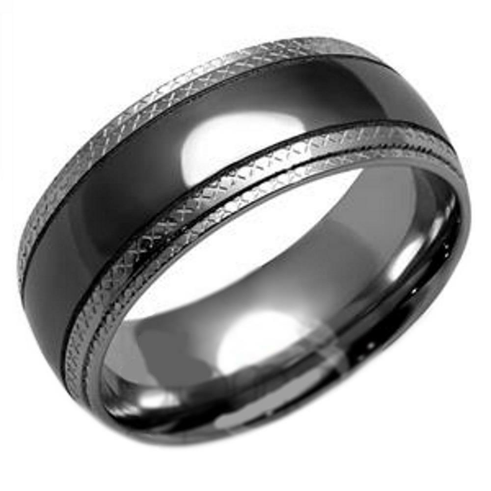 Mens Stainless Steel Industrial Style Gunmetal 8mm Wedding Band Ring  eBay