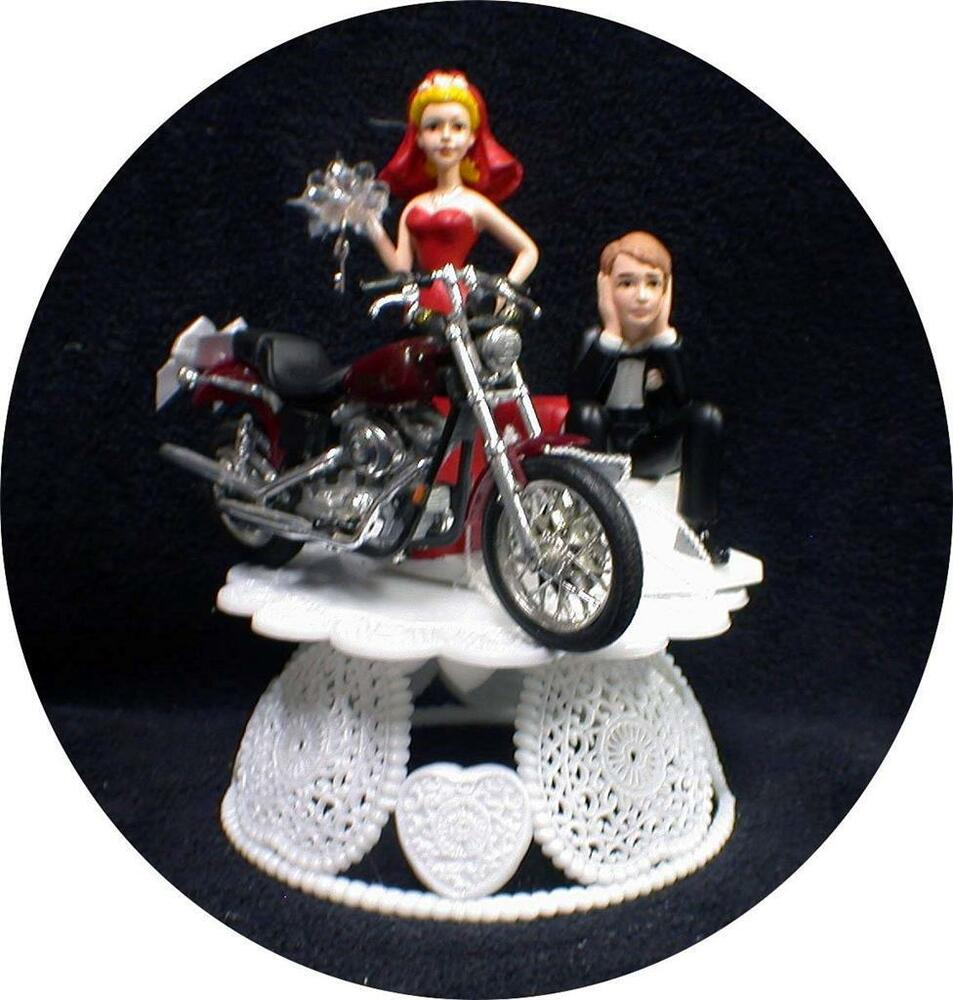 Sexy RED Bride Dress Wedding Cake Topper Wdiecast Harley