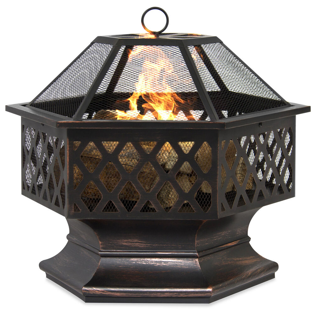BCP Hex Shaped Fire Pit Outdoor Home Garden Backyard