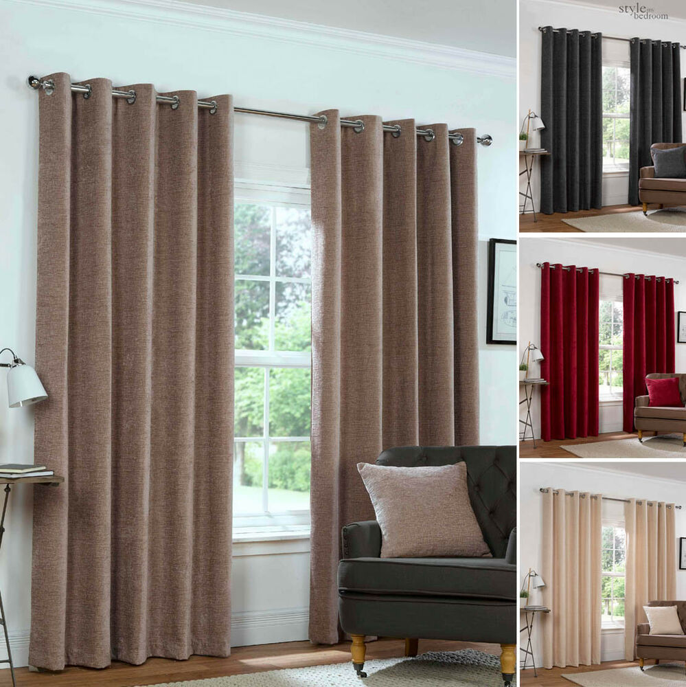 Eyelet Ring Top CHENILLE PLAIN HEAVY LINED Woven Pair of Curtains in 4 Colours  eBay