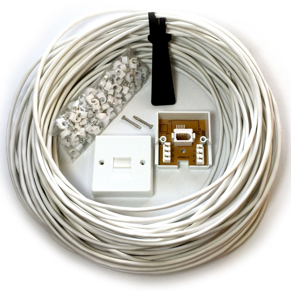 hight resolution of details about 15m bt phone broadband wall socket extension cable kit 4 way reel wire lead