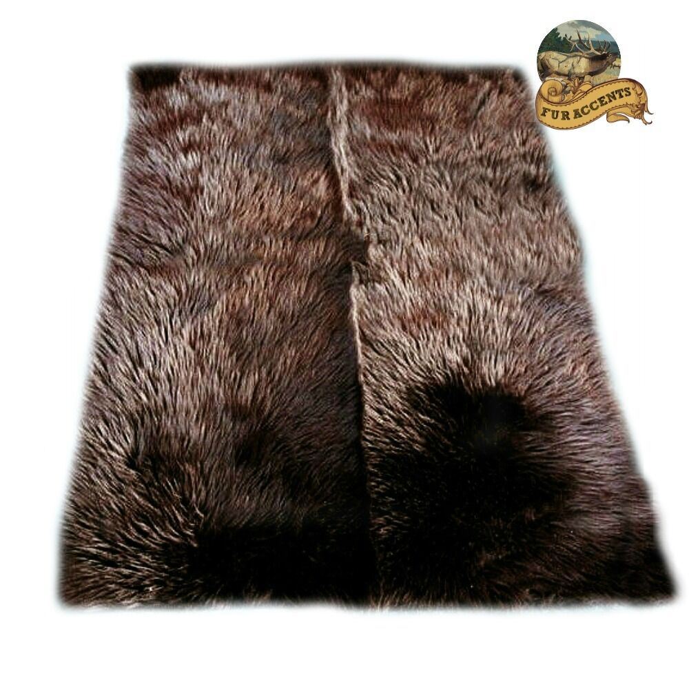Brown Bear Skin Shaggy Sheepskin Shag Area Rug Faux Fur