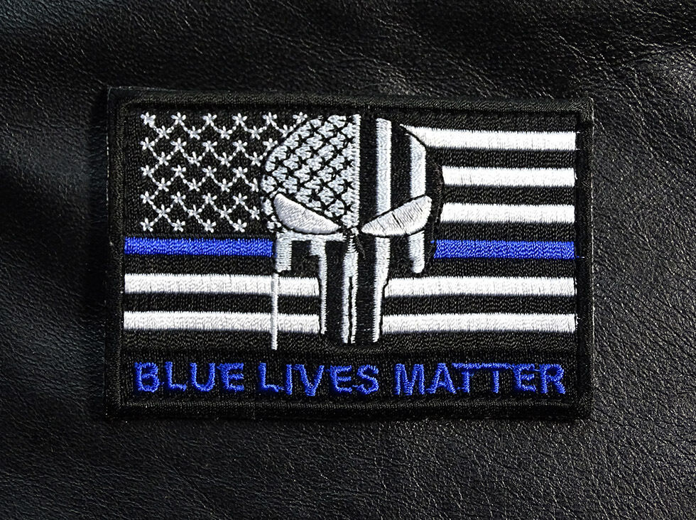 Ebay 3d Wallpaper Photo Blue Lives Matter Blue Line Punisher Skull Us Flag Hook