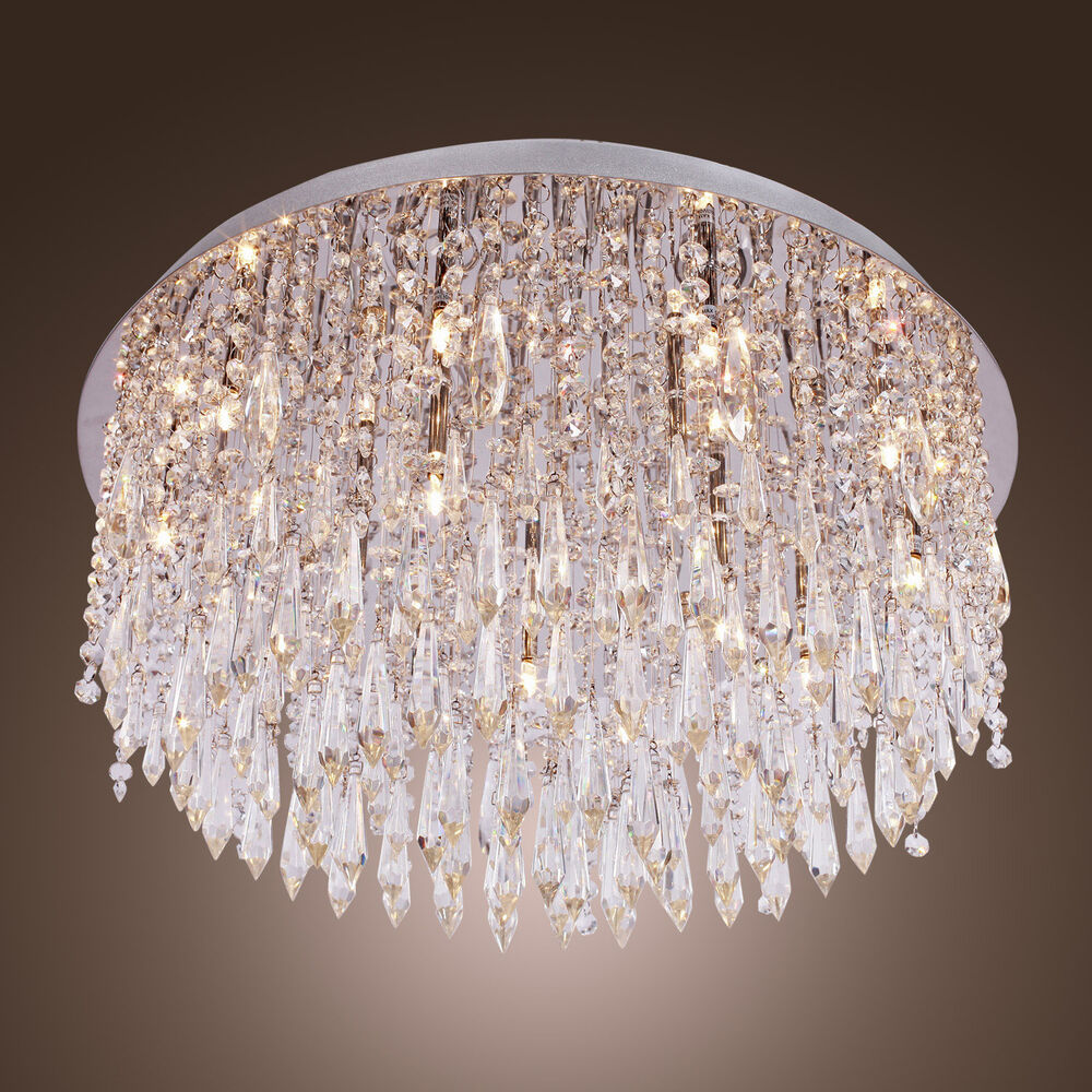 Modern Crystal Flush Mount Chandelier