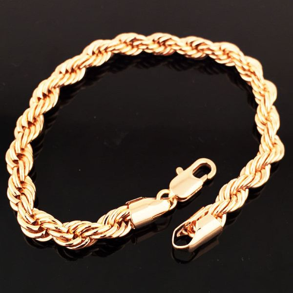 Authentic Womens 14k Rose Gold Filled Thick Weave Rope Chain Charm Bracelet 8.3