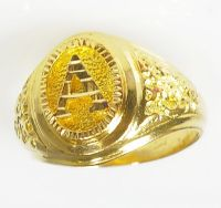Gents Mens 750 18k Yellow Gold Nugget Style A Initial ...