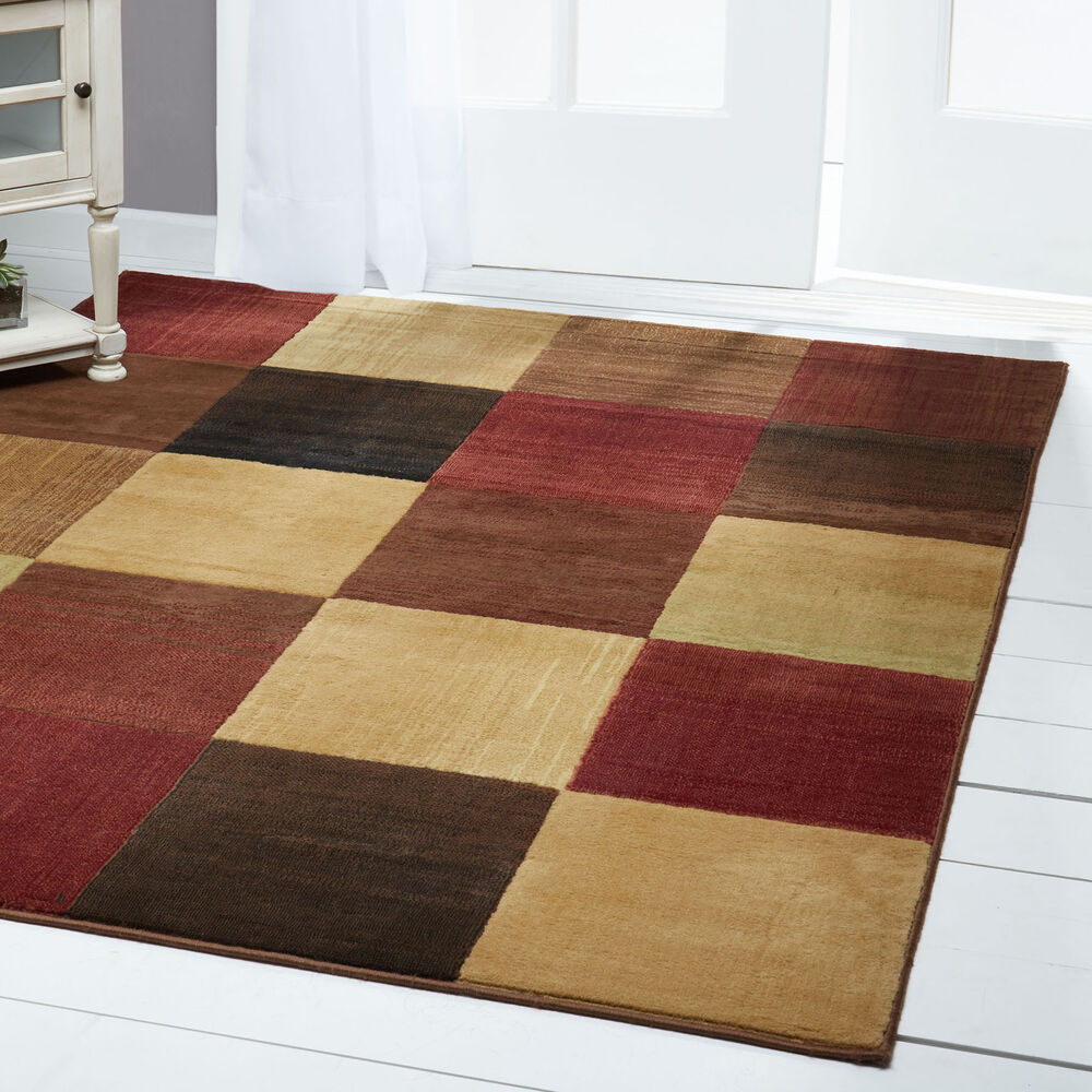 Modern Abstract Multi 6x8 Area Rug Squares Carpet  Actual 5 3 x 7 2  eBay