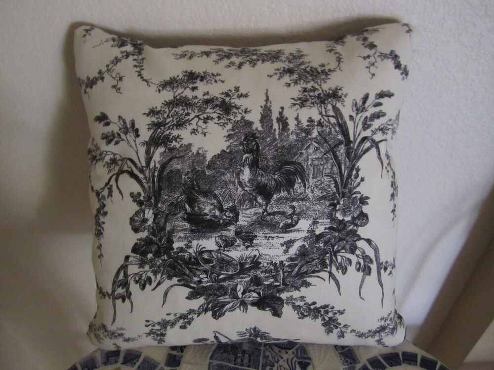 Waverly Pillow La Petite Ferme Black Cream French Country