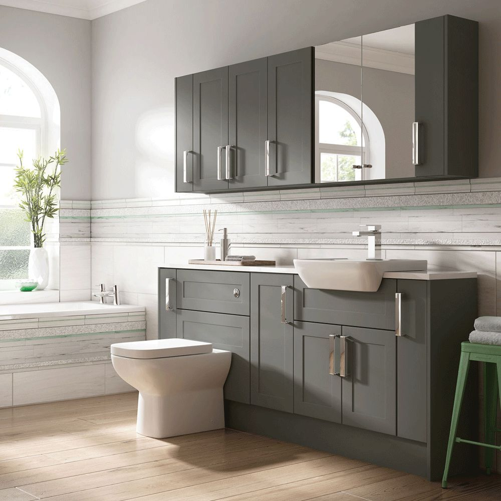Moores Bathroom Fitted Furniture Charcoal Grey Shaker  eBay