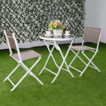 3 Pc Brown Bistro Set Outdoor Garden Table Chairs Patio