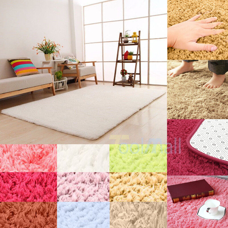 Fluffy Rugs AntiSkid Shaggy Area Rug Dining Room Home Bedroom Carpet Floor Mat  eBay