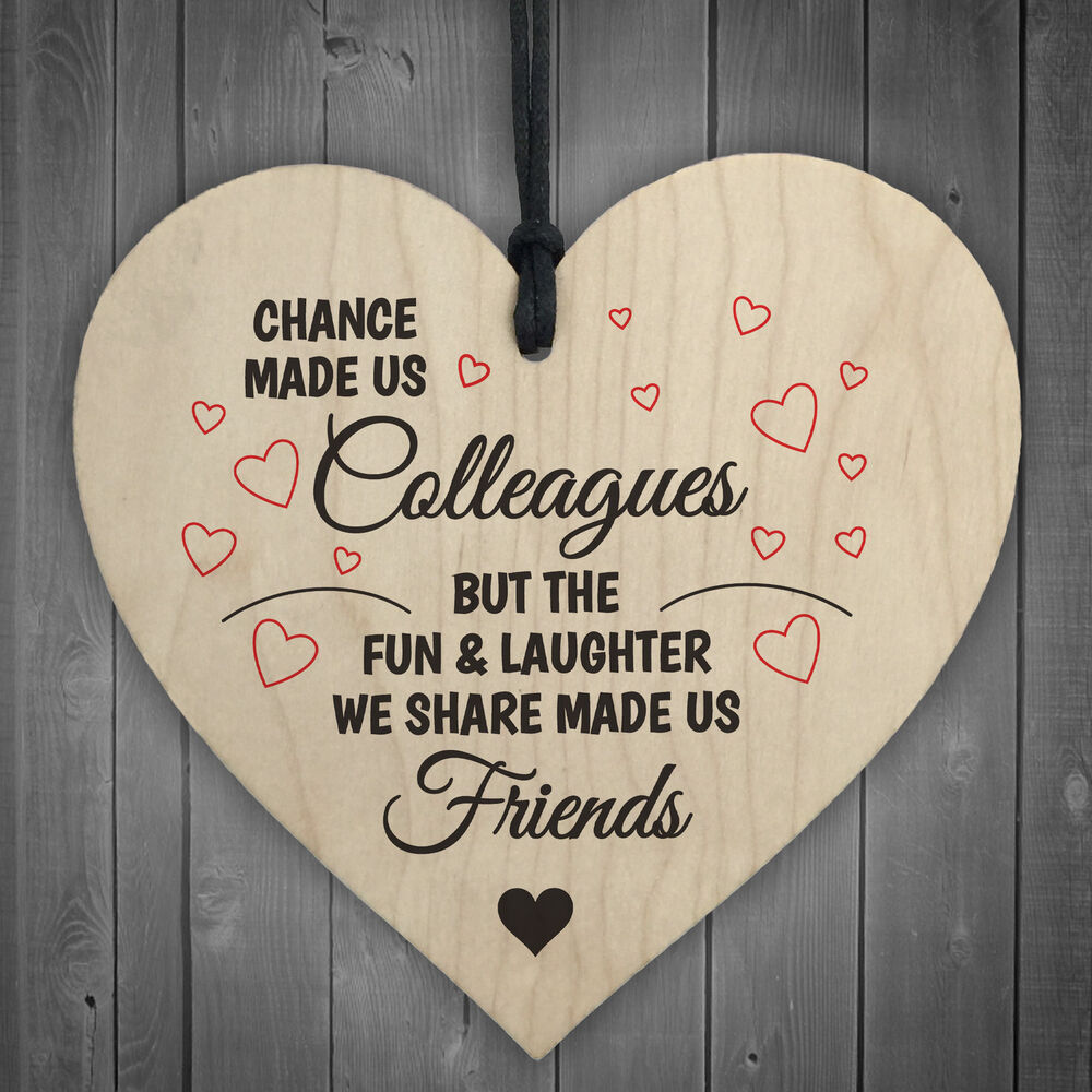 Colleagues Fun And Laughter Novelty Wooden Hanging Heart