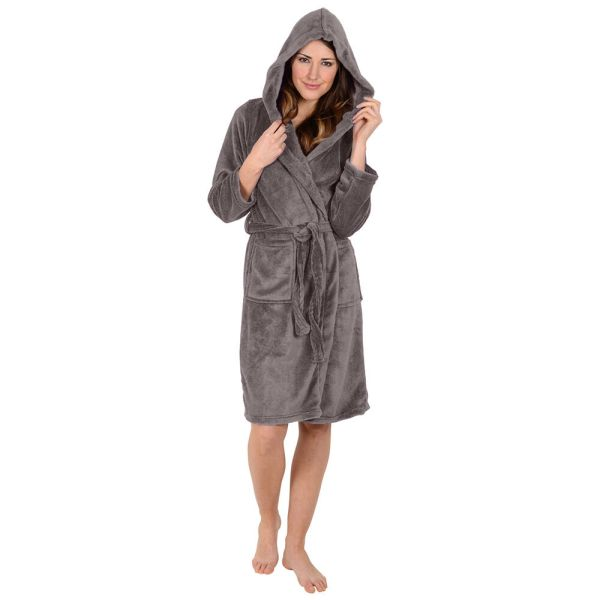 Regency York - Ladies Bath Robe -hooded Collar-super Soft-coral Fleece- Gray