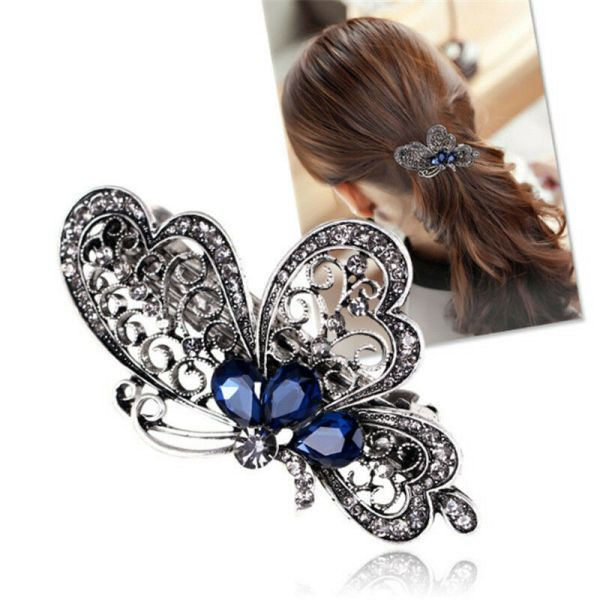 Vintage Women Butterfly Crystal Hair Clip Hairpin Barrette