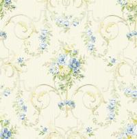Wallpaper Designer Traditional French Style Blue & Yellow ...