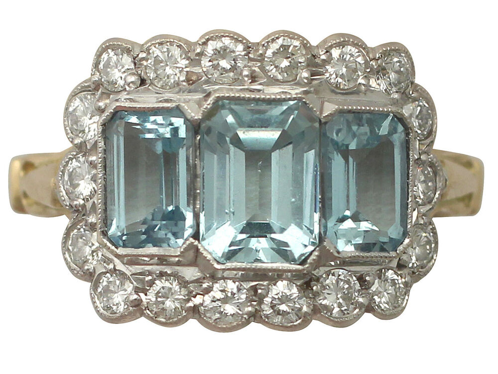 223 Ct Aquamarine And 072 Ct Diamond 18 Ct Yellow Gold