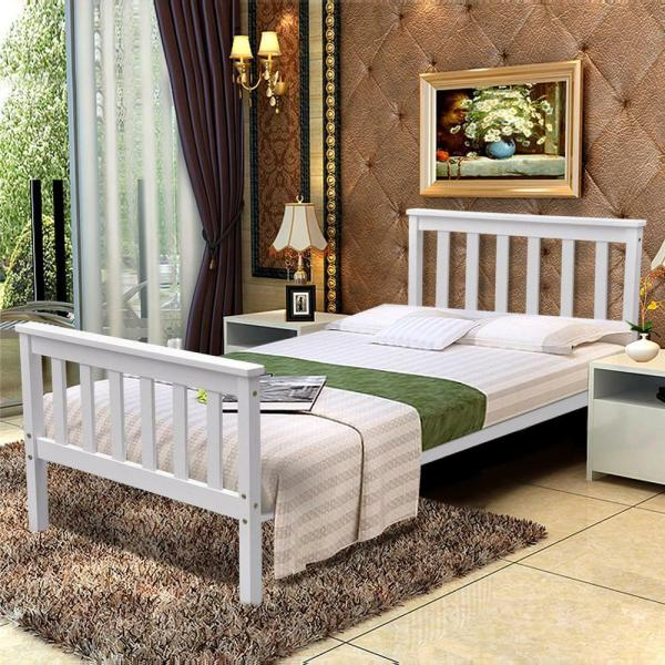 White Single Wooden Wood Sleigh Bed Frame Solid Pine