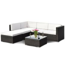 4 Pcs Outdoor Patio Rattan Wicker Furniture Set Loveseat