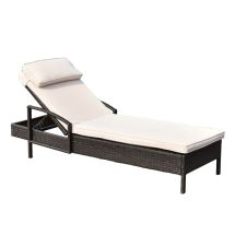Chaise Lounge Chair Brown Outdoor Wicker Rattan Couch