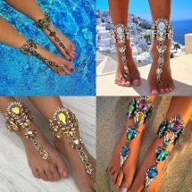 Women Crystal Barefoot Sandal Beach Anklet Foot Chain Toe