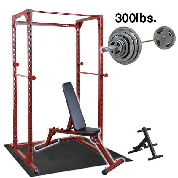 Best Fitness Power Rack Package With Bench Weight Set