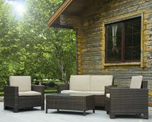 4pc Pe Rattan Wicker Sofa Set Cushion Outdoor Patio