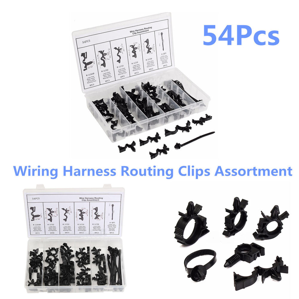 medium resolution of details about 54 pcs set car nylon wiring harness routing clips assortment convoluted conduit