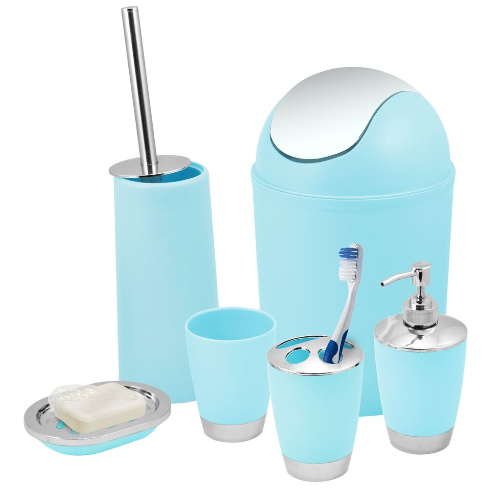 Blue Bathroom Accessories Blue Bathroom Accessories Set Bin Toothbrush Tumbler Holder Soap Dish Dispenser 5060498075121 Ebay