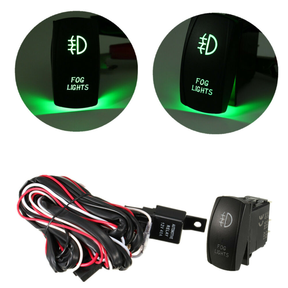 hight resolution of details about universal green led fog light wiring harness fuse laser rocker switch relay us