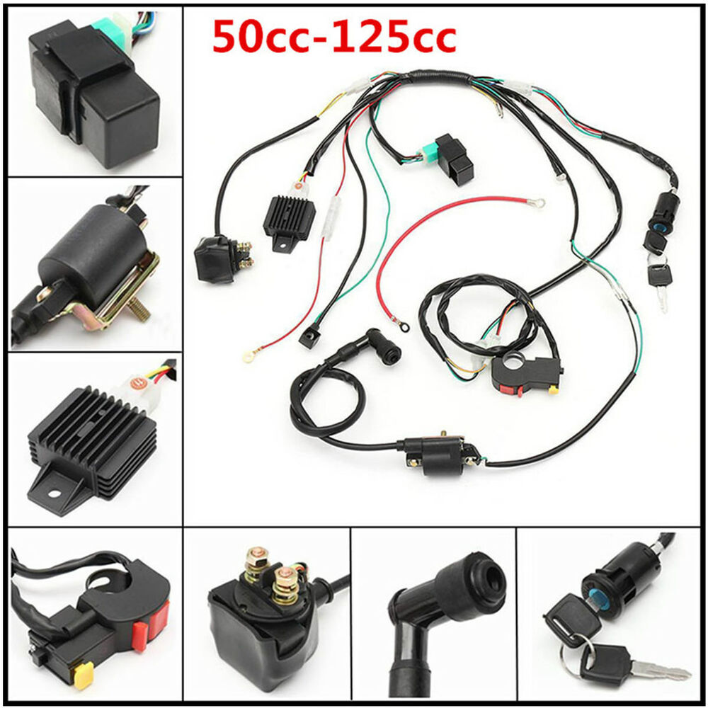 medium resolution of new 50cc 125cc cdi pit wire harness stator assembly wiring atv electric quad kit 6414937736699