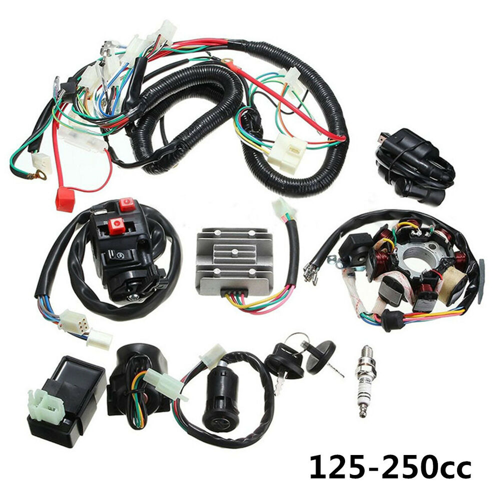 medium resolution of 125 250cc motorcycle stator cdi coil electric wiring harness loom assembly kit 7246460735578 ebay