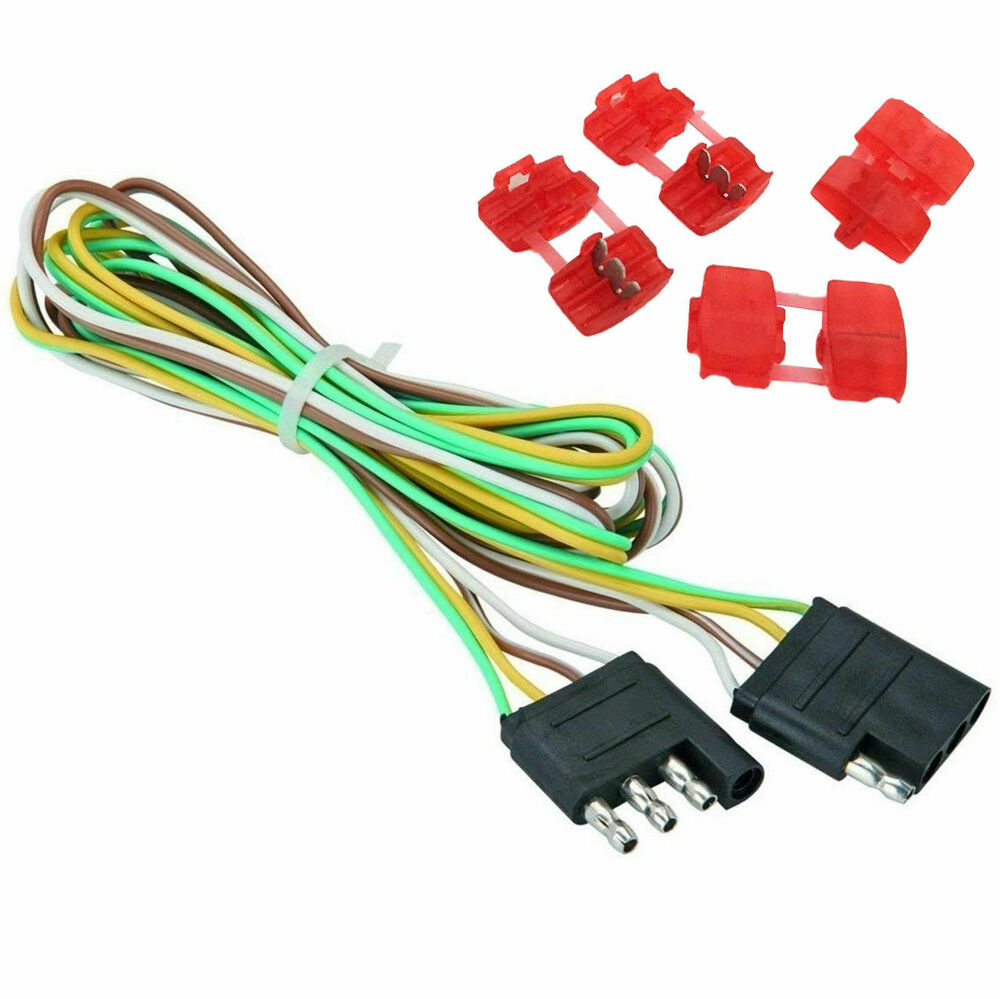 hight resolution of 48 trailer light wire 4 way flat extension wiring harness plug cord 4 way flat wiring harness