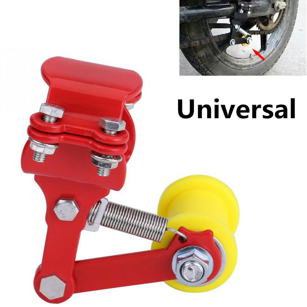 medium resolution of details about portable adjuster atv motorcycle chain tensioner bolt on roller tool red yellow